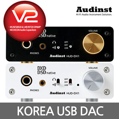 AUDINST HUD-DX1 V2 (White) Asynchronous Native DSD USB DAC Headphone Amplifier
