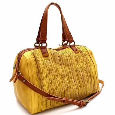 - Perforated Two-Tone Rustic 2-Way Boston Satchel Purse