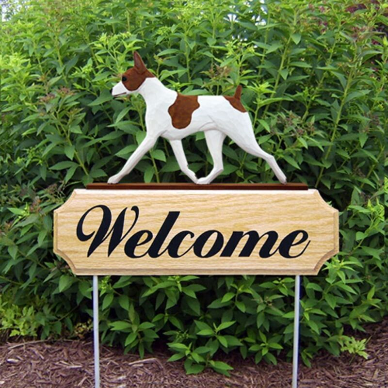 Rat Terrier Wood Welcome Outdoor Sign Red/White