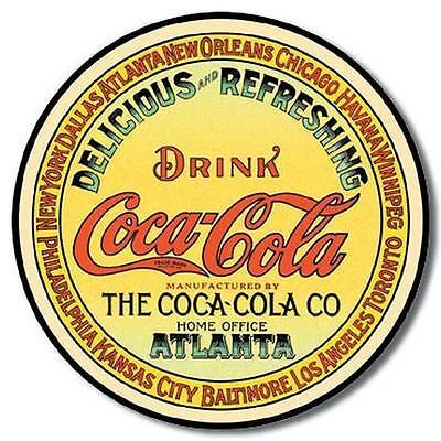 COKE - Round Keg Label TIN SIGN Vintage Nostalgic Wall Decor, COCA COLA