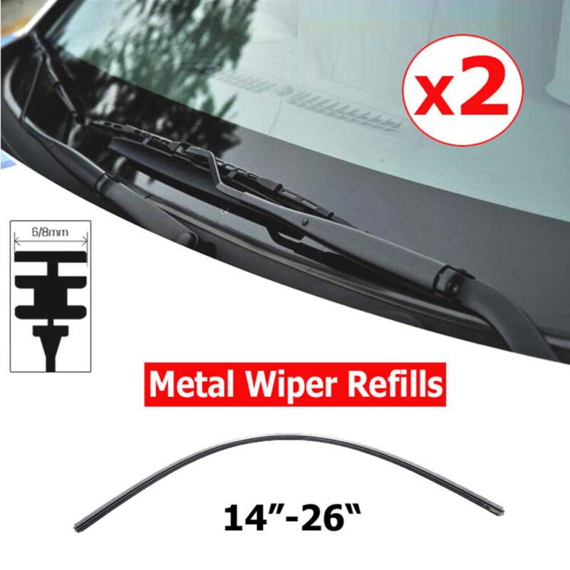 "2PC 6mm //8 mm Car Auto Rubber Metal Wiper Blade Refill 14/""//16/""//22/""//24/""//26/"""