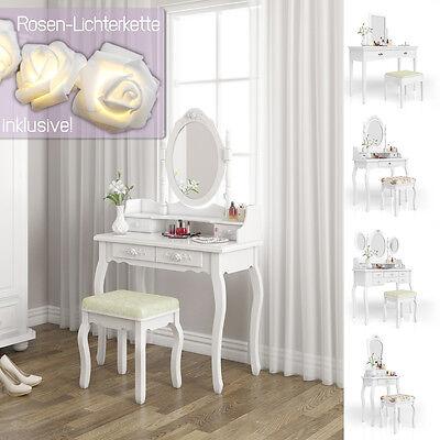 Schminktisch Hocker Kosmetiktisch Frisierkommode Frisiertisch Spiegel Rose Serie