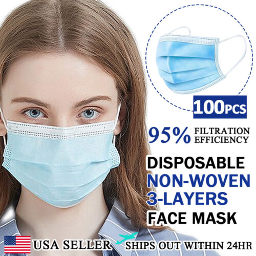 [100 PCS] Face Mask Non Medical Surgical Disposable 3-PLY Earloop Mouth Cover Business & Industrial