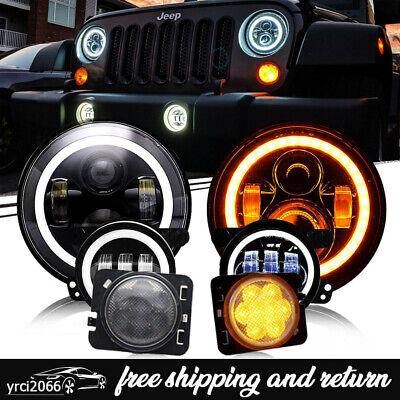 """For 07-2018 Jeep Wrangler JK 7"""" LED Headlight Fog Lamps Fender Lights Combo Kit"""