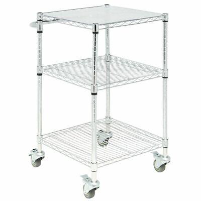 3 Chrome Plated Wire - HUBERT 3-Shelf Chrome-Plated Steel Wire Cart - 24L x 21W x 39 3/4