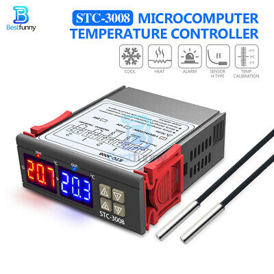 1224110-220v Stc-3008 Dual Led Probe Temperature Controller Thermostat Display