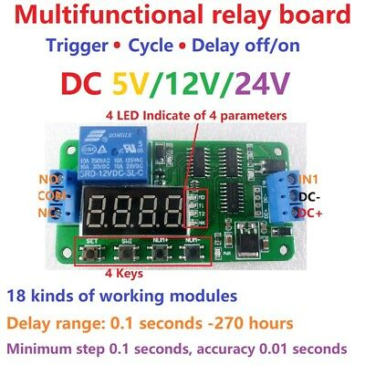 (DC 5V 12V 24V Multifunction Self-lock Relay PLC Cycle Timer Module Delay Switch)