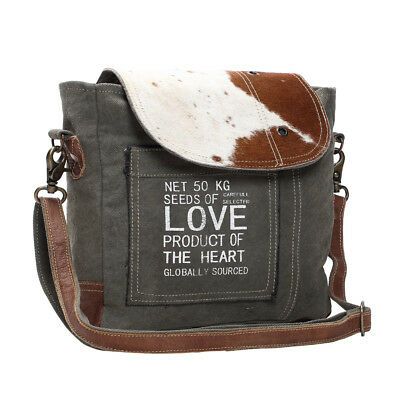 Seeds of Love Green Canvas & Cowhide Recycled Bag Canvas + Hair Shoulder Purse