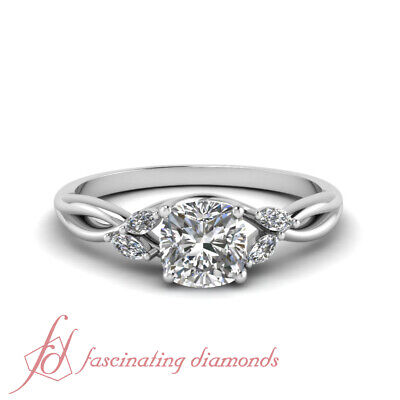 1 Carat Cushion Cut Diamond Nature Inspired Engagement Ring In Platinum GIA