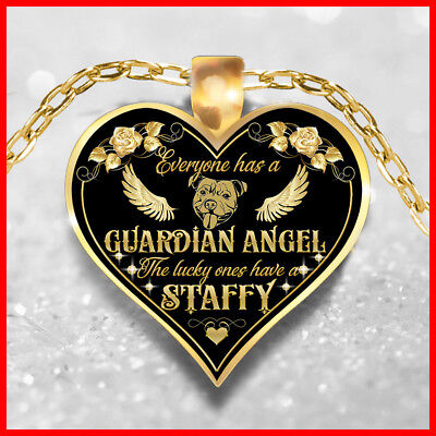 STAFFY ANGEL NECKLACE, STAFFIE JEWELRY, STAFFORDSHIRE BULL TERRIER PENDANT