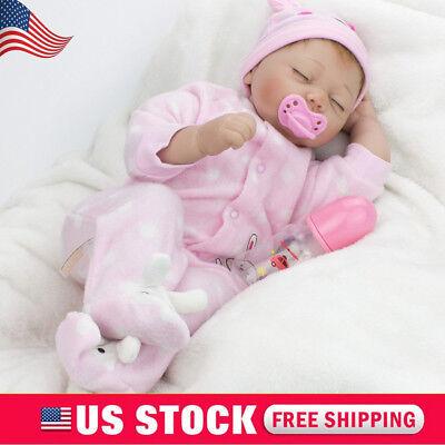 "22""Reborn Baby Dolls Handmade Newborn Vinyl Silicone Girl Doll Toy Birthday Gift"