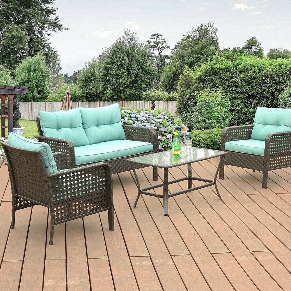 Garden Furniture - 4 Pcs Patio Rattan Sofa Set Wicker Garden Furniture Outdoor Sectional Couch
