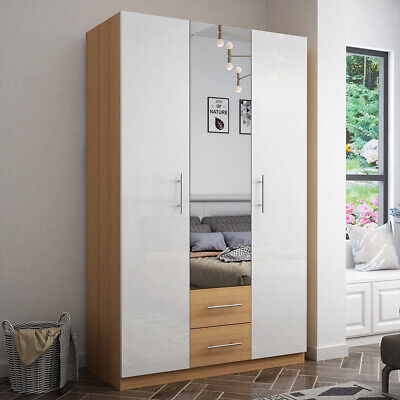 Mirrored 3 Door High Gloss White Wardrobe with Drawers