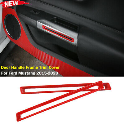 Interior Door Handle Frame Trim Cover For Ford Mustang 2015-2020 Red Accessories