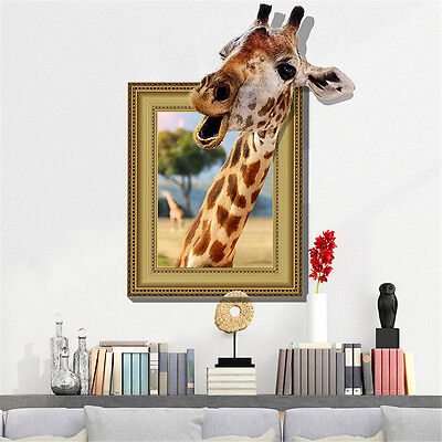 Home Decoration - 3D Funny Giraffe Room Home Decor Removable Wall Stickers Decals Decorations