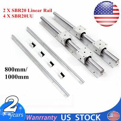 2 Set Sbr20 8001000mm 20mm Fully Supported Linear Rail Shaft Rod With 4 Sbr20uu