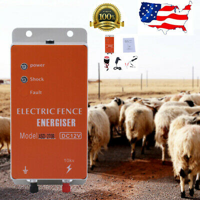 10km Electric Livestock Fence Charger Ranch Animal Sheep Horse Cattle Poultry Us