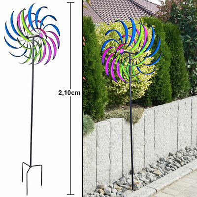 Double pinwheel multicolored garden plug terraces decoration ground spike 210 cm