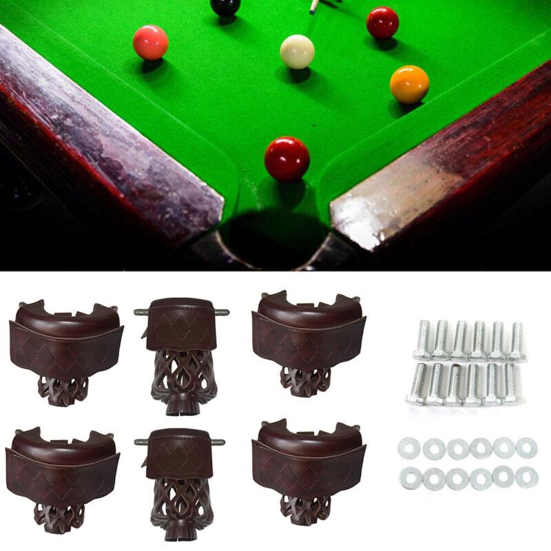 Set of 6 Heavy Duty Leather Billiard Pool Table Web Pockets Drop Bag Nets