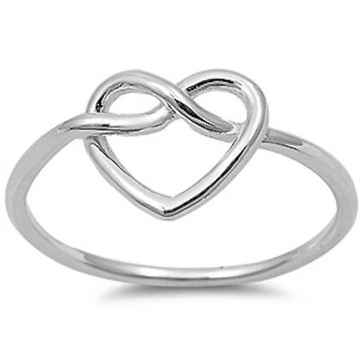 Plain Heart Knot .925 Sterling Silver Ring Sizes 3-10