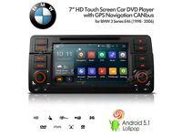 "7"" Android 5.1 Lollipop Car DVD Radio GPS SatNav USB SD AUX Bluetooth Stereo For BMW 3 Series E46"