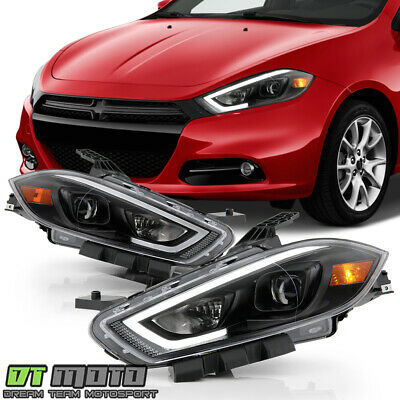 2013-2016 Dodge Dart Halogen LED Tube Projector Headlights Headlamps Left+Right