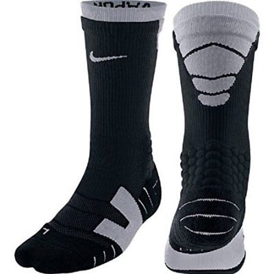 Nike Elite Vapor Cushioned Athletic Football Crew Socks Black and Gray Mens NWT