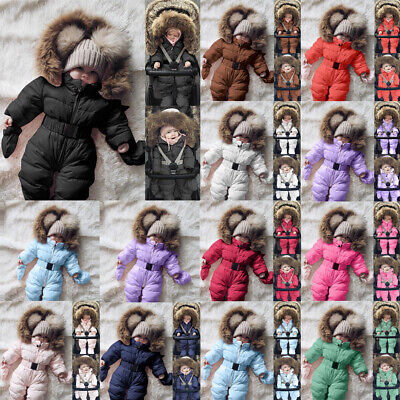 New Toddler Baby Boy Girl Winter Romper Jacket Hooded Jumpsuit Coat Outfit Gift