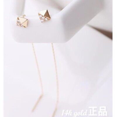 14K Solid Yellow Gold Rhombus Drop Long Threader Dangle a Pair of Earrings TPD