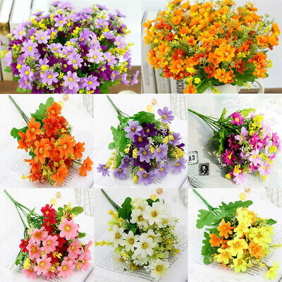 28 Heads Artificial Fake Daisy Silk Flowers Floral Bouquet Home Wedding Decor - Daisy Decorations
