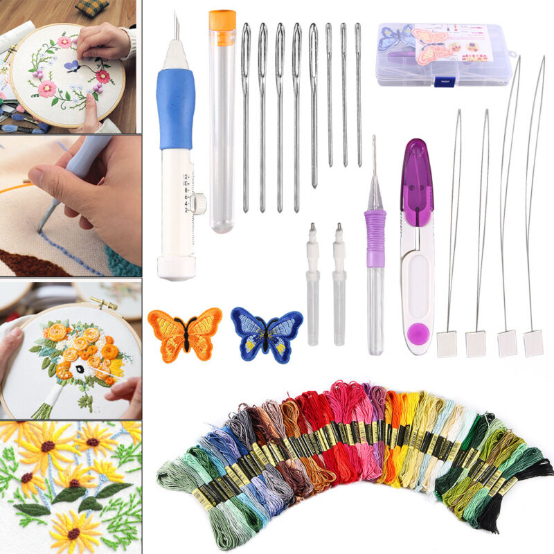 Magic DIY Embroidery Pen Knitting Sewing Tool Kit Punch Needles&50 Threads Set
