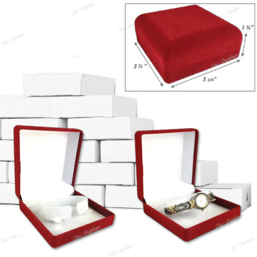 LOT OF 12 VELOUR WATCH GIFT BOXES RED WATCH BOX WHOLESALE JEWELRY BOXES < DEAL >