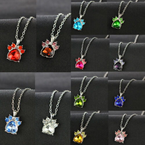 12 Months Necklace Jewelry Crystal Rhinestone Heart Claw Paw