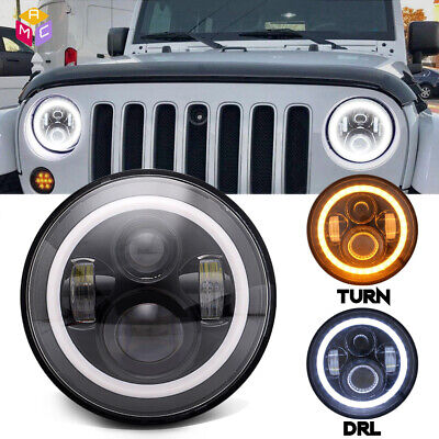 DOT 7inch Round LED Headlight /w Halo Angle Eyes Fit Jeep Wrangler JK LJ (1977 Jeep Renegade)
