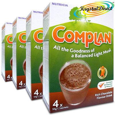 4x Complan Chocolate Nutrition Vitamin Protein Supplement Energy Drink 4x55g