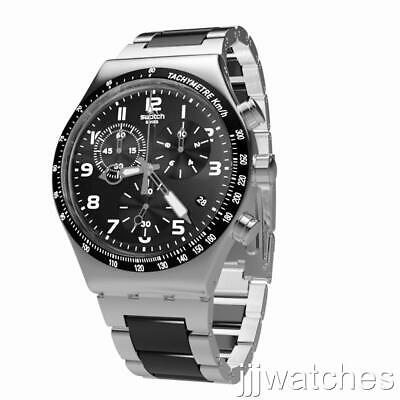 New Swatch Speed Up Steel Chronograph Date Men Black Watch YVS441G $200