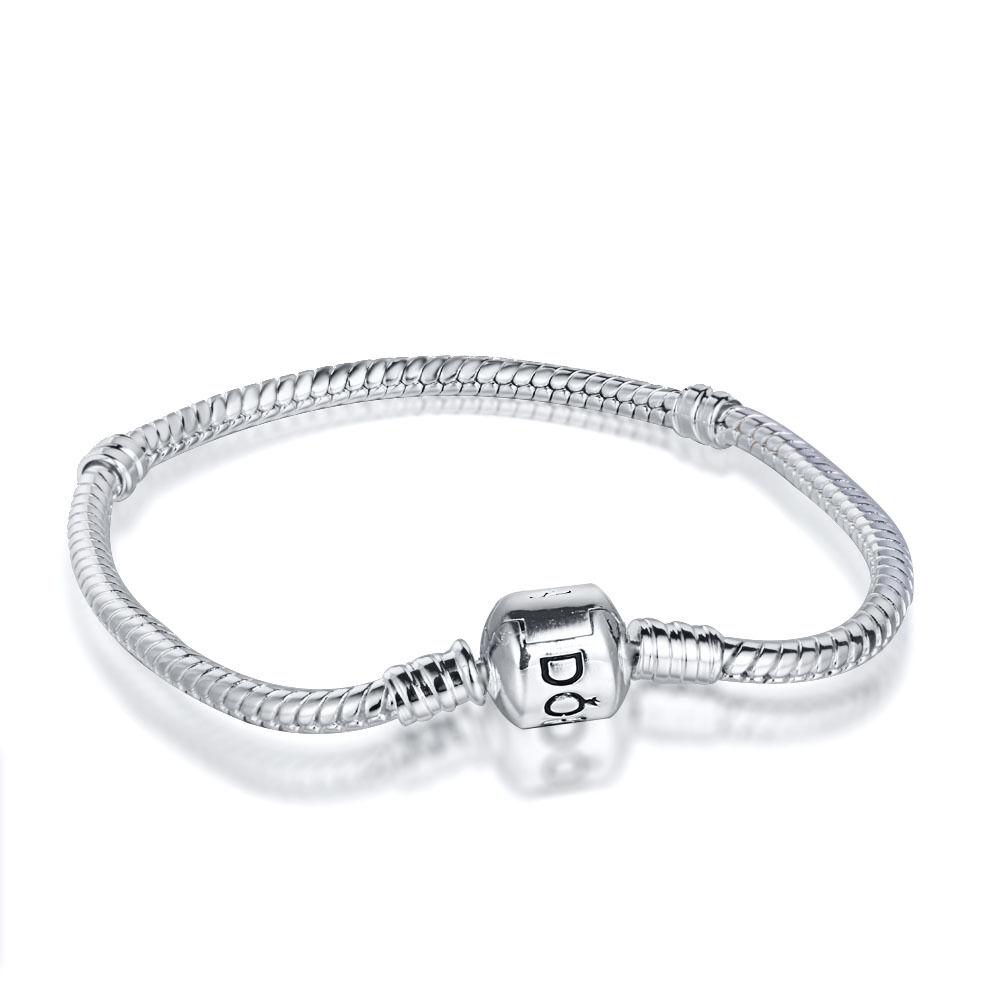 Silver Charm Bracelet bangle chain Fit 925 European charms dangle Bead