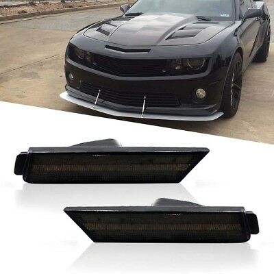 For 2010-15 Chevy Camaro Smoked Lens Front Side Marker Light Housing Replace Kit
