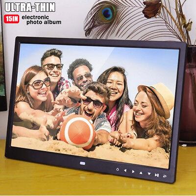 15 inch HD Digital Photo Frame Album Picture MP4 Movie Player+ Remote Control US