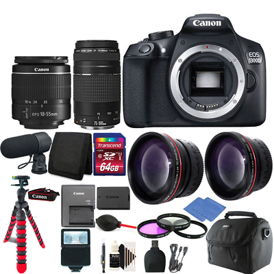 Canon EOS Rebel 1300D/T6 D-SLR Camera 4 Lens Complete