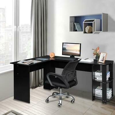 L-shaped Wooden Black Computer Desk Home Office Laptop PC Table