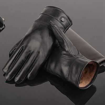 Mens Autum Winter Classic Genuine Leather Gloves Lambskin Mittens Driving Black
