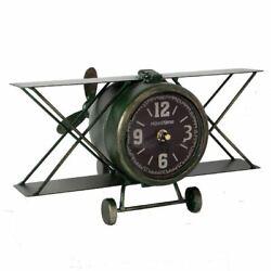 Biplane Vintage Metal Mantel Clock Aeroplane Desk Clock