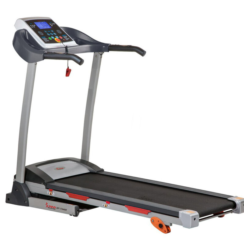 Sunny Health and Fitness Folding Treadmill w/Device Holder, Shock Absorption