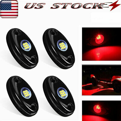4 Pods LED Rock Lights, Waterproof LED Neon Underglow Light For Car Truck Red