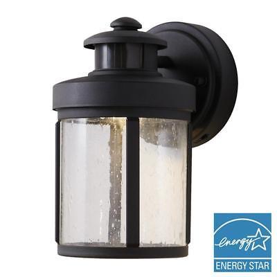 Hampton Bay Black Motion Sensor Outdoor Integrated LED Small Wall Mount (Black Small Outdoor Wall Lantern)