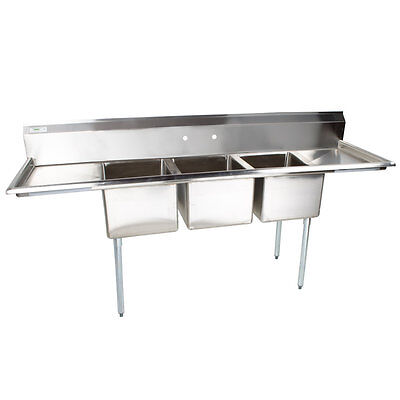 103 Nsf Stainless Steel 3 Compartment Commercial Pot Sink With 2 Drainboards