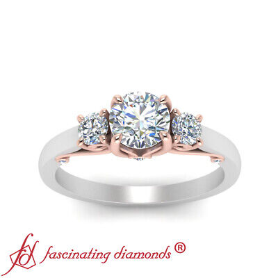 2 Tone 3/4 Carat Round Diamond Rose Gold Engagement Ring With Underneath Scroll 2