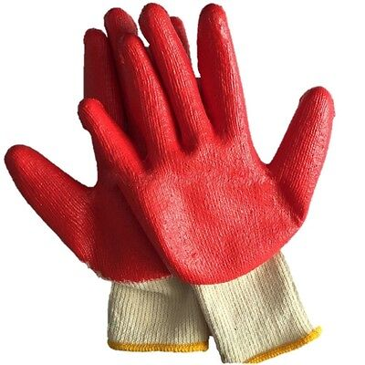 10-PAIR RED LATEX RUBBER COATED DIPPED PALM STRING KNIT WORK GLOVES LARGE L - Latex Palm Coated Knit Gloves