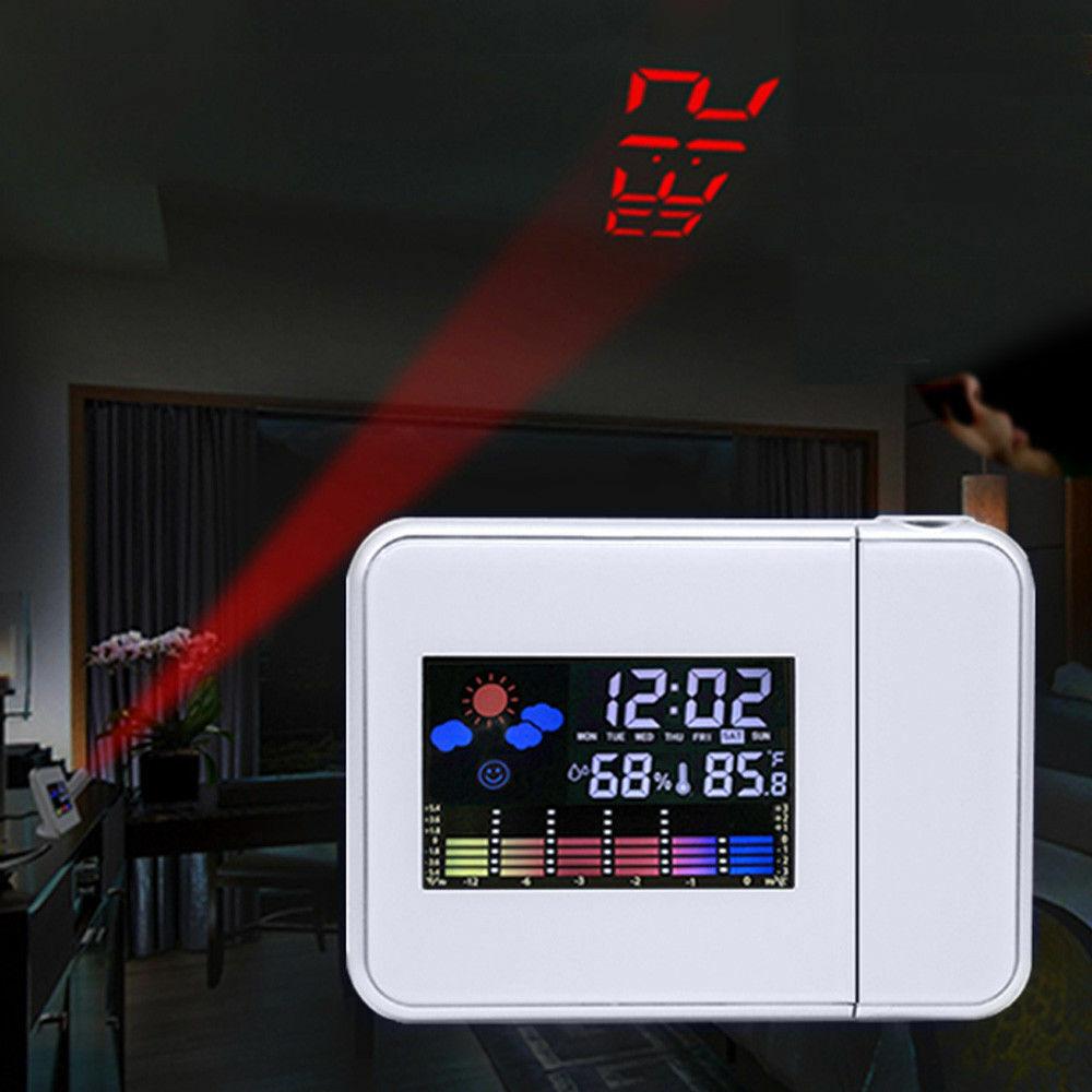DHL LCD Digital Projektionswecker Projektionsuhr Uhr Temperatur Farbbildschirm